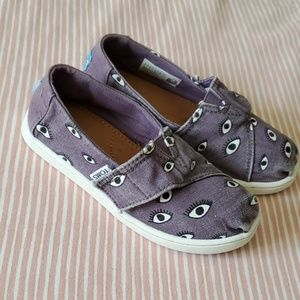 TOMS Purple Eye Print Canvas Sneakers. Child's 11